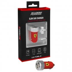 Ferrari cargador coche USB 2 puertos 2.1A + cable Lightning MFI + cable 30 PIN MFI