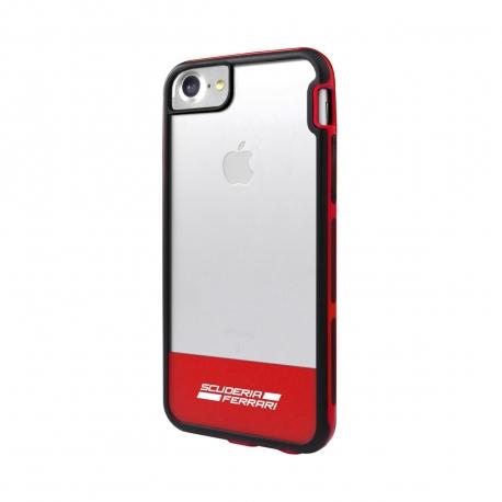 Ferrari carcasa Apple iPhone 8/7 Shockproof Racing transparente roja