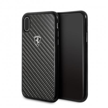 Ferrari carcasa Apple iPhone Xs/X fibra carbono negra