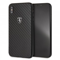 Ferrari carcasa Apple iPhone XS Max fibra carbono negra