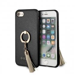 Guess carcasa Apple iPhone 8/7 con anillo soporte Saffiano negro