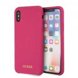 Guess funda Apple iPhone XS/X silicona rosa logo dorado