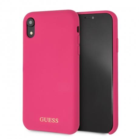 Guess funda Apple iPhone XR silicona rosa logo dorado
