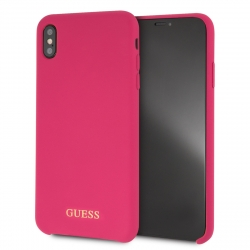 Guess funda Apple iPhone XS Max silicona rosa logo dorado