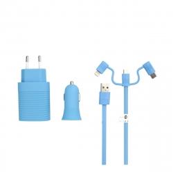 muvit life pack cargador de coche usb+cargador de casa usb+cable 3 en 1 micro usb, tipo C y lightning azul