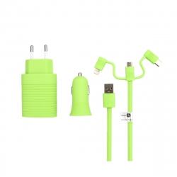 muvit life pack cargador de coche usb+cargador de casa usb+cable 3 en 1 micro usb, tipo C y lightning verde