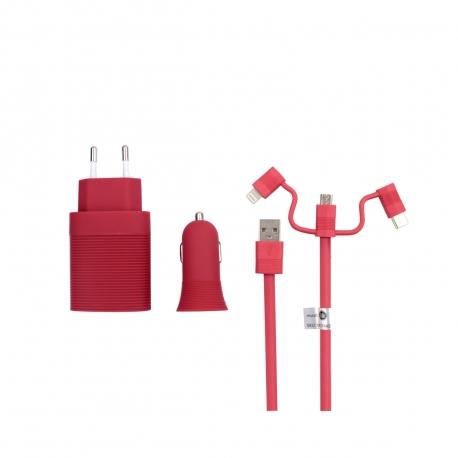 muvit life pack cargador de coche usb+cargador de casa usb+cable 3 en 1 micro usb, tipo C y lightning rojo
