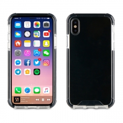 muvit Pro funda Cristal Bump Apple iPhone Xs/X shockproof transparente + borde negro