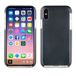 muvit Pro funda Cristal Soft Bump Apple iPhone Xs/X shockproof transparente + borde negro