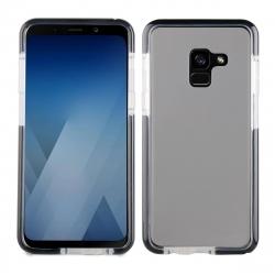 muvit Pro funda Cristal Soft Bump Samsung Galaxy A8 2018 shockproof transparente + borde negro