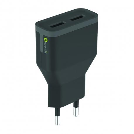 muvit transformador 2 USB 3.4A negro