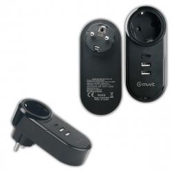 muvit transformador 2 USB 2.4A 12W+1 Tipo C PD 18W+Eu Plug carga inteligente negro