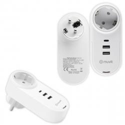 muvit transformador 2 USB 2.4A 12W+1 Tipo C PD 18W+Eu Plug carga inteligente blanco