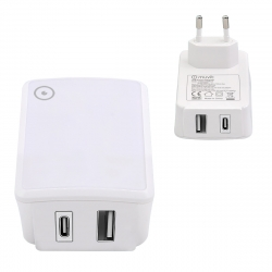 muvit transformador 1 USB QC3.0 18W max + Tipo C PD QC 3.0 27W max blanco