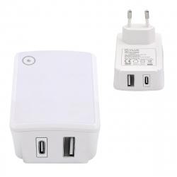 muvit transformador 1 USB QC3.0 18W+1 Tipo C PD QC 3.0 27W blanco