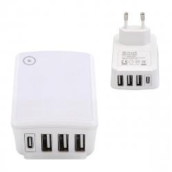 muvit transformador 3 USB + 1 Tipo C 5V/5A carga inteligente blanco