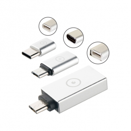 muvit pack adaptador USB OTG 3,0 a Micro USB+Micro USB a Tipo C+ Tipo C a micro USB Plata