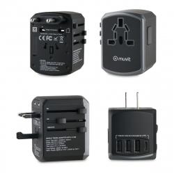 muvit adaptador viaje universal (EU,UK,US,AU) 3 USB+1Tipo C 5V 4,5A negro gris