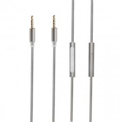 muvit cable audio con micrófono 3.5mm/3.5mm gris