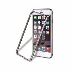 muvit funda Bumper Apple iPhone 6S aluminio + nanofilm trasero gris