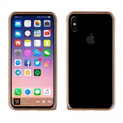 muvit funda Bumper Apple iPhone Xs/X aluminio + nanofilm trasero oro rosa
