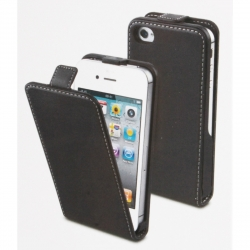muvit pack Apple iPhone 4S/4 funda Slim negra + protector pantalla flexible