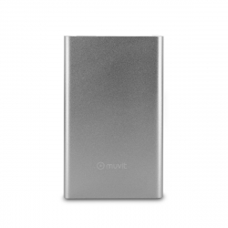 muvit power bank 3000 mAh USB 2A cable USB-MicroUSB plata