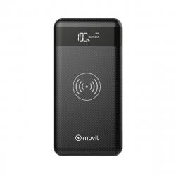 muvit power bank 10000 mAh USB 2 puertos 2.1A + 1A + 3 inputs (MicroUSB, Tipo C, Lightning) + base inalámb Qi 5V negro