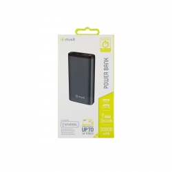 muvit power bank 20000 mAh 2 USB 2.4A + Tipo C PD 3A 18W + 2 inputs (Micro USB + Tipo C) LED Display Negro