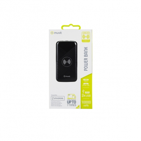 muvit power bank 10000 mAh 2 USB 2,1A Output + 2 input (Micro USB+Tipo C) + Wireless Qi 5W negra