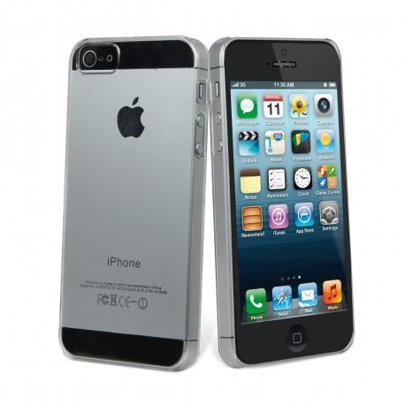 muvit pack Apple iPhone SE/5S/5 carcasa Cristal transparente + protector pantalla flexible