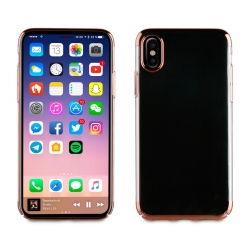 muvit carcasa Cristal Apple iPhone Xs/X bordes Electoplating oro rosa