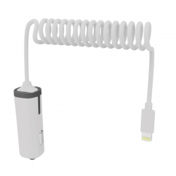muvit cargador coche Lightning MFI 2.4A cable rizado 1.8m blanco