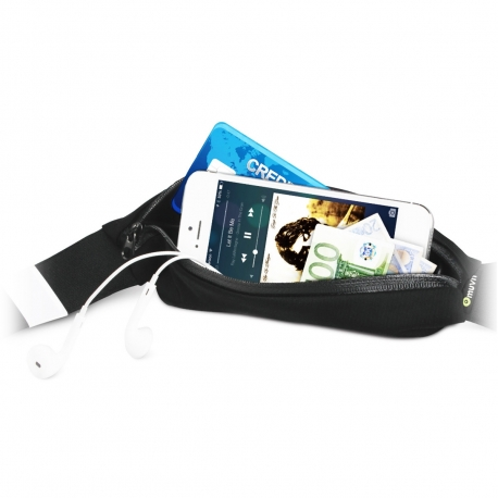 muvit cinturón elástico bolsillo impermeable negro