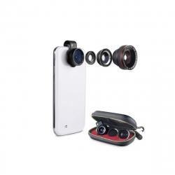 muvit pack universal 4 lentes (macro, gran angular, ojo de pez, polarizador)