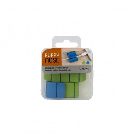 muvit organizador de cables multiusos 2 tamaños para 4 y 2 cables y 2 colores verde y azul