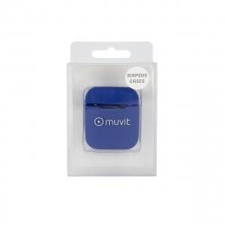 muvit funda Apple airPods silicona + colgante cuello azul