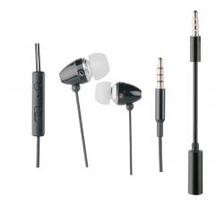 muvit auriculares estéreo con micrófono + adaptador 3,5mm negro