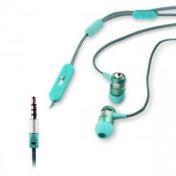 muvit auriculares estéreo con micrófono 3,5mm verde/blanco