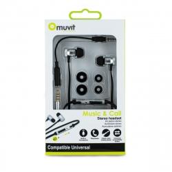 muvit auricular estéreo 3,5 mm con micrófono + control volumen negro/plata