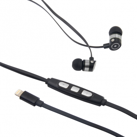 muvit auriculares estéreo con micrófono Lightning MFI cable plano negro