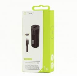 muvit pack cargador coche USB 1A negro + Cable USB-Micro USB 1m negro