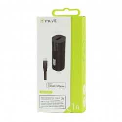 muvit pack cargador coche USB 1A negro + Cable USB-Lightning MFI 1m negro
