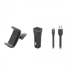 "muvit pack soporte coche salida aire hasta 6,2"" + cargador coche USB 2 puertos 2A negro + cable USB-Lightning MFI 1m"
