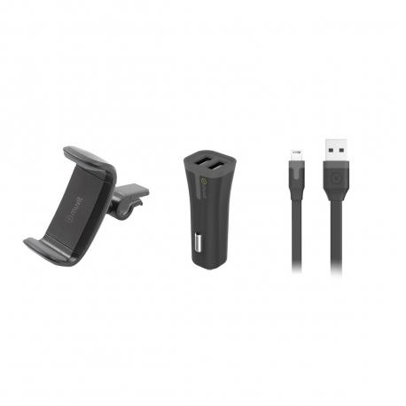 "muvit pack soporte coche salida aire hasta 6,2"" + cargador coche USB 2 puertos 2A negro + cable USB-Lightning MFI 1m"