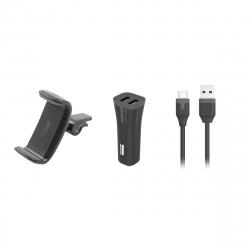 "muvit pack soporte coche universal salida aire hasta 6,2"" + cargador coche USB 2 puertos 2A negro + cable USB-Tipo C 1m"