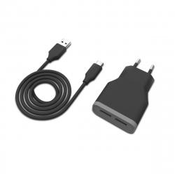 muvit pack transformador USB 2 puertos 2.4A + cable 1m Tipo C negro