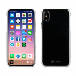 muvit pack Apple iPhone Xs/X carcasa Cristal transparente + protector pantalla vidrio templado plano