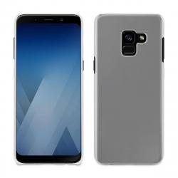 muvit pack Samsung Galaxy A8 2018 funda Cristal transparente + protector pantalla vidrio templado curvo marco negro