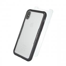 muvit pack Skin Apple iPhone XS/X carcasa vidrio templado marco negro + protector pantalla vidrio templado plano